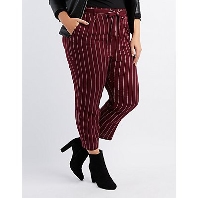 Plus Size Striped Tie-Front Pants