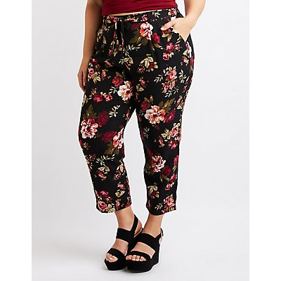 Plus Size Floral Wide Leg Pants