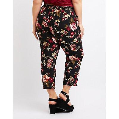Plus Size Floral Wide Leg Pants