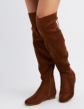 Faux Suede Tie-Back Over-The-Knee Boots