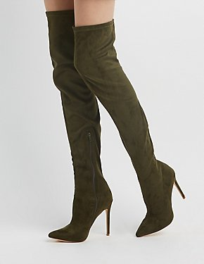 Faux Suede Pointed Toe Over-The-Knee Boots