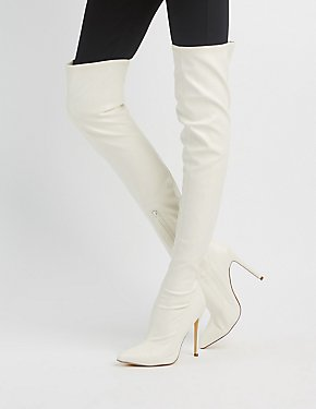 Faux Leather pointed Toe Over-The-Knee Boots