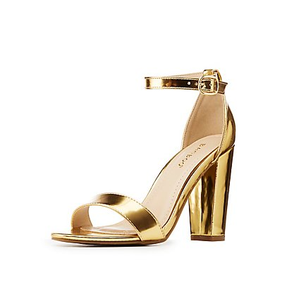 Bamboo Metallic Ankle Strap Sandals