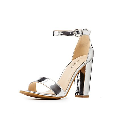 Bamboo Metallic Ankle Strap Dress Sandals