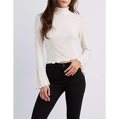 Mock Neck Lettuce-Trim Ribbed Top