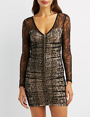 Ruched Lace Mesh Bodycon Dress