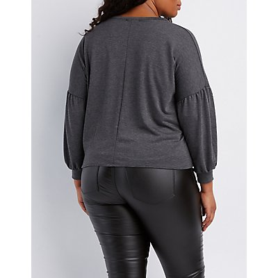 Plus Size Faux Pearl Bell Sleeve Top