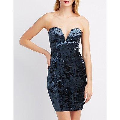 Velvet Strapless Bodycon Dress