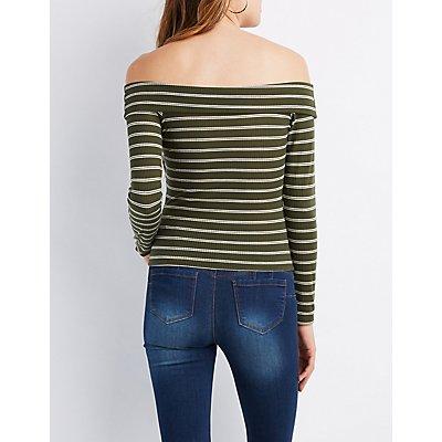 Wrap Front Off-The-Shoulder Crop Top