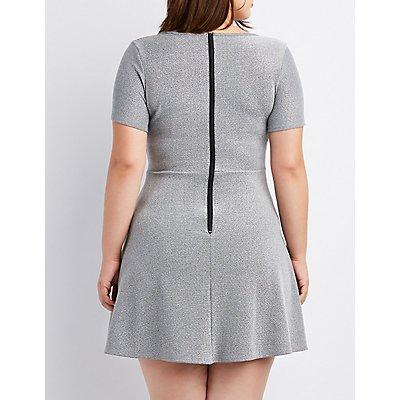 Plus Size Glitter Skater Dress