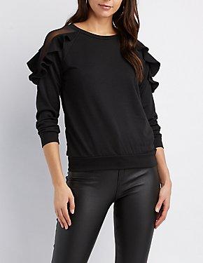 Mesh Inset Ruffle-Trim Sweatshirt