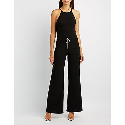 Circle Zip Lace-Up Palazzo Pants
