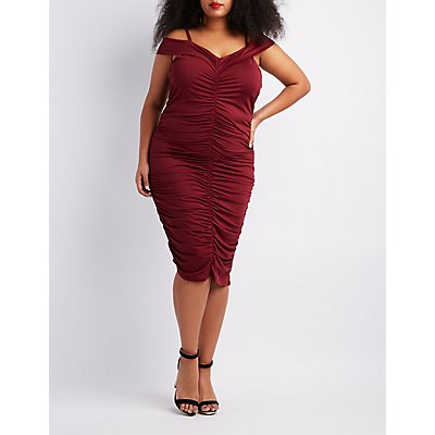 Plus Size Ruched Cold Shoulder Bodycon Dress