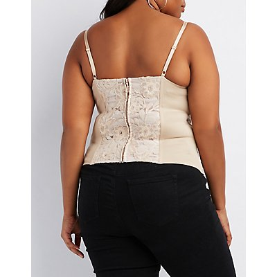 Plus Size Sequins Embellished Lace Bustier
