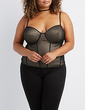 Plus Size Shimmer Mesh Bustier Crop Top