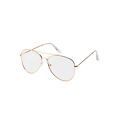 Metal Aviators Brow Bar Faux Readers