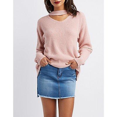 Cut-Out Zip-Trim Pullover Sweater