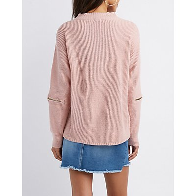 Cut-Out Zip-Trim Pullover Sweater