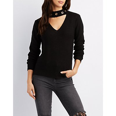 Cut-Out Grommet-Trim Pullover Sweater
