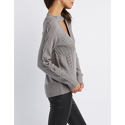 Cut-Out Lace-Up Detail Pullover Sweater