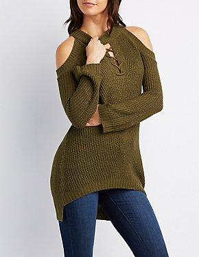 Mock Neck Lace-Up Cold Shoulder Sweater