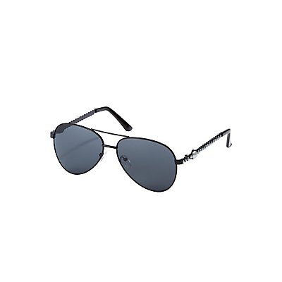Faux Pearl Brow Bar Aviator Sunglasses