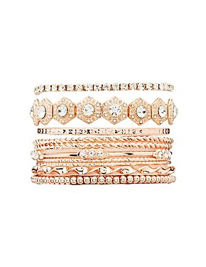 Embellished Bangle Bracelets - 10 Pack
