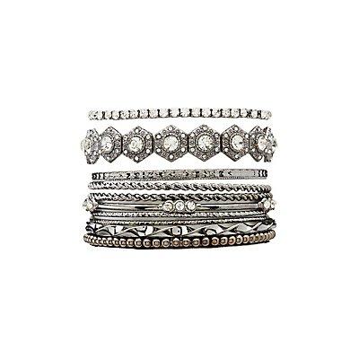 Embellished Bangle Bracelets - 10 Pack