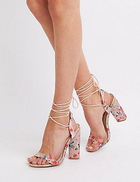Floral Lace-Up Sandals