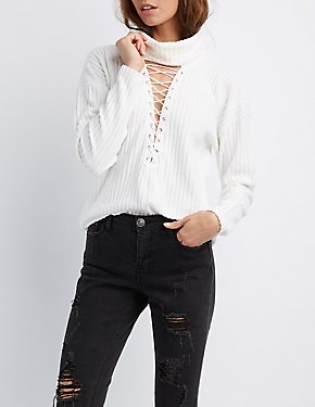 Ribbed Lace-Up Detail Turtleneck Sweater