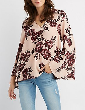 Floral V-Neck Bell Sleeve Top