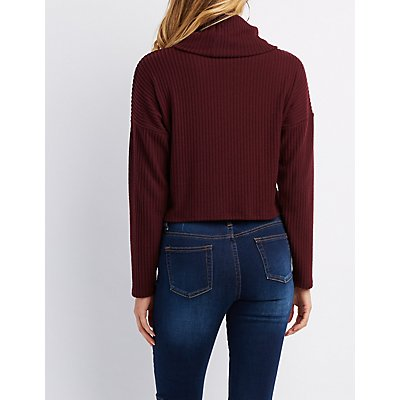 Ribbed Cowl Neck Crop Sweater