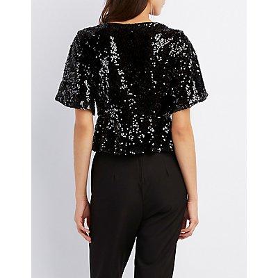 Kimono Sleeve Tie-Front Crop Top