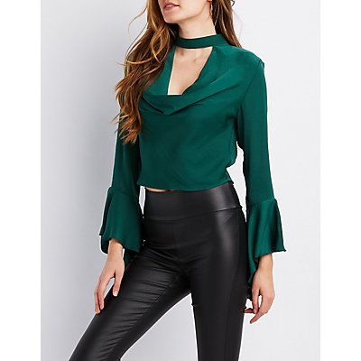 Cowl Neck Bell Sleeve Top