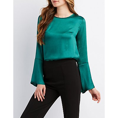 Bell Sleeve Tie-Back Top