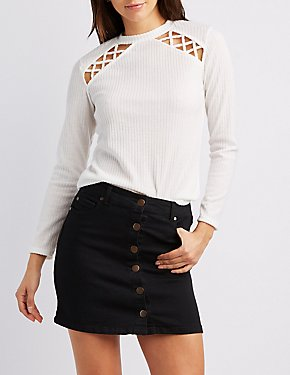 Ribbed Caged-Detail Mock Neck Top