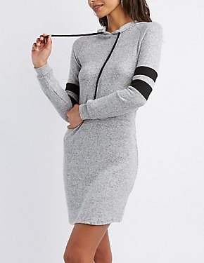 Varsity Stripe Hooded Sweatshirt Dress