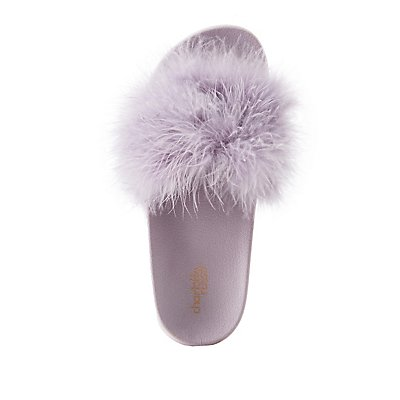 Faux Feather Slide Sandals