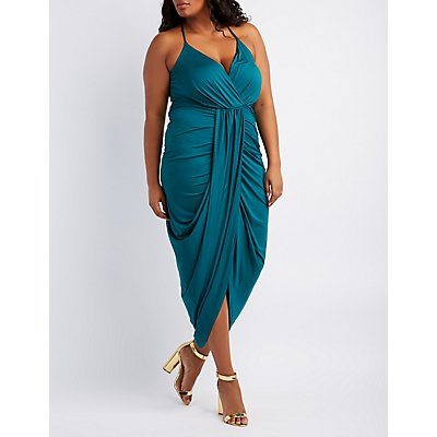 Plus Size Surplice Tulip Maxi Dress