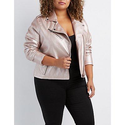 Plus Size Metallic Faux Leather Moto Jacket