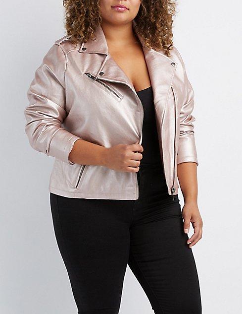 Plus Size Metallic Faux Leather Moto Jacket Charlotte Russe