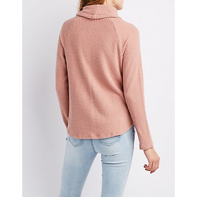 Waffle Knit Cowl Neck Pullover Sweater