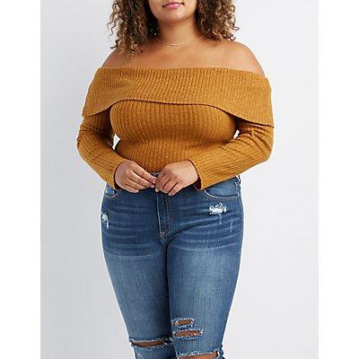 Plus Size Hacci Knit Off-The-Shoulder Top