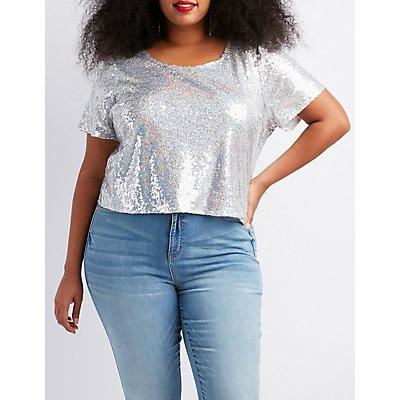 Plus Size Sequins Open-Back Crop Top