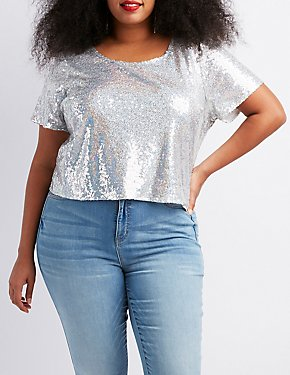 Plus Size Sequins Open-Back Crop Top