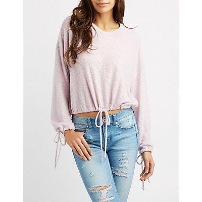 Hacci Drawstring Pullover Crop Top