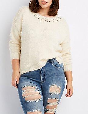 Plus Size Sequin & Bead-Trim Pullover Sweater