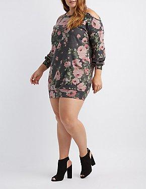 e7f015c673b Plus Size Off-The-Shoulder Floral Sweatshirt Dress