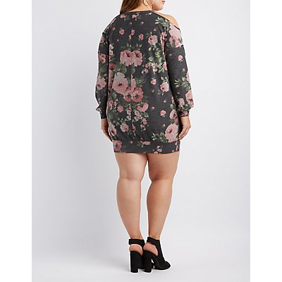 Plus Size Off-The-Shoulder Floral Sweatshirt Dress