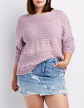 Plus Size Destroyed Pointelle Sweater